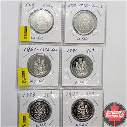 Canada Fifty Cent (6): 1973; 1987; 1867-1992; 1991; 2000; 1952-2002