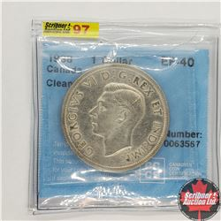 """Canada $1 Dollar 1938 (CCCS Cert """"Cleaned"""" EF-40)"""