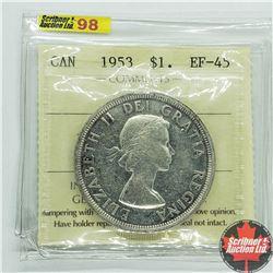"""Canada $1 Dollar 1953 (ICCS Cert """"SF"""" EF-45)"""