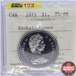 """Canada $1 Dollar 1973 (ICCS Cert """"Nickel; Cameo"""" PL-66)"""