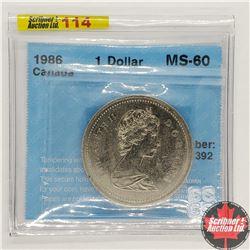 Canada One Dollar 1986 (CCCS Cert MS-60)