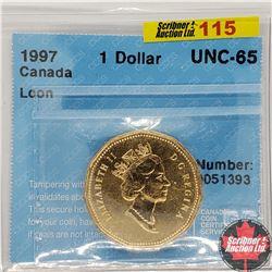 "Canada One Dollar 1997 (CCCS Cert ""Loon"" UNC-65)"