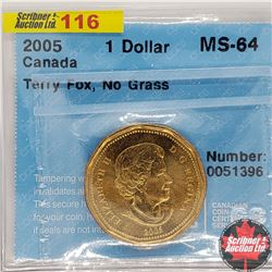 "Canada One Dollar 2005 (CCCS Cert ""Terry Fox, No Grass"" MS-64)"