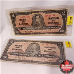Canada $2 Bills 1937 Gordon/Towers (2): EB9735109 & EB6601787