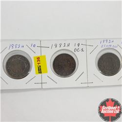 Canada Large Cent - Strip of 3: 1882H; 1882H; 1882H