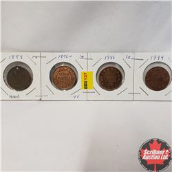 Canada Large Cent - Strip of 4: 1858 (Holed); 1876H; 1886; 1884