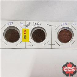 Canada Large Cent - Strip of 3: 1886; 1890H; 1891