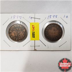 Canada Large Cent - Strip of 2: 1897; 1898