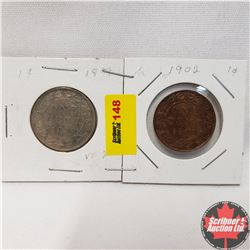 Canada Large Cent - Strip of 2: 1899; 1902