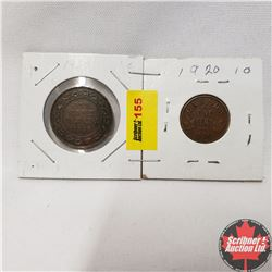 Canada One Cent - Strip of 2: 1920 Large Cent ; 1920 Small Cent