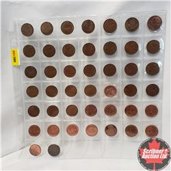 Canada One Cent - Sheet of 44: 1943; 1963; 1965 (23); 1967; 1968; 1974; 1976; 1986; 1991; 1994; 2000