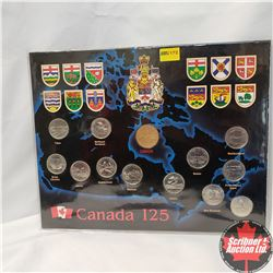 1867-1992 Canada 125 Collector Card with 1 Loonie & 12 Quarters
