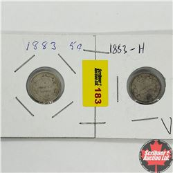 Canada Five Cent - Strip of 2: 1883H; 1883H
