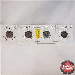 Canada Five Cent - Strip of 4: 1904; 1905; 1906; 1907