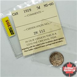 Canada Five Cent 1919 (Note: Coin has ICCS Grade - however grade cardboard has been separated from c