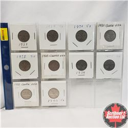 Canada Five Cent - Sheet of 10: 1928; 1929; 1930; 1931; 1932; 1933; 1934; 1935; 1937 Dot; 1940