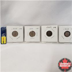 Canada Ten Cent  - Strip of 4: 1905; 1906; 1907; 1908
