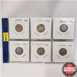 Canada Ten Cent  - Strip of 6: 1909; 1910; 1911; 1912; 1913; 1914