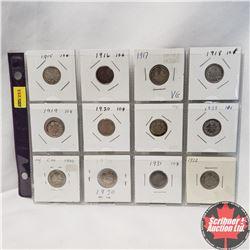 Canada Ten Cent - Sheet of 12: 1915; 1916; 1917; 1918; 1919; 1920; 1921; 1928; 1929; 1930; 1931; 193