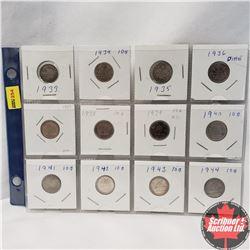 Canada Ten Cent - Sheet of 12: 1933; 1934; 1935; 1936; 1937; 1938; 1939; 1940; 1941; 1942; 1943; 194