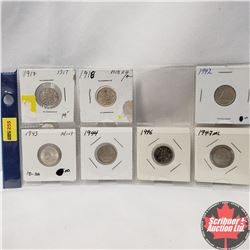 Canada Ten Cent  - Strip of 7: 1917; 1918; 1942; 1943; 1944; 1946; 1947ML