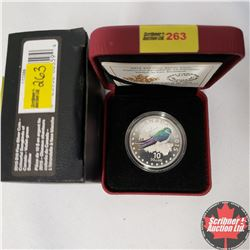 CHOICER OF 14: RCM 2015 $10 Fine Silver Coin - Colourful Songbirds of Canada - Violet Green Swallow
