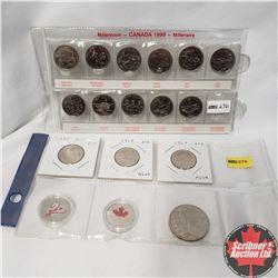 Canada Coins: Millennium 1999 Quarters (11) & 2005; 1969; 1968; 2000; 2001 AND $1 Canada 1984