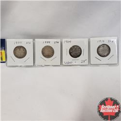 Canada Twenty Five Cent - Strip of 4: 1907; 1908; 1909; 1910