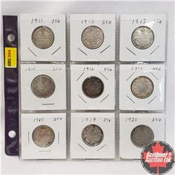 Canada Twenty Five Cent - Sheet of 9: 1911; 1912; 1913; 1914; 1916; 1917; 1918; 1919; 1920