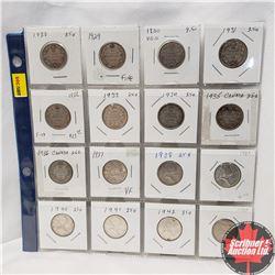 Canada Twenty Five Cent - Sheet of 16: 1928; 1929; 1930; 1931; 1932; 1933; 1934; 1935; 1936; 1937; 1