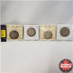 Canada Fifty Cent - Strip of 4: 1906; 1907; 1908; 1909  (Note: 1906 & 1908  Coins have ICCS Grade -