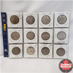 Canada Fifty Cent - Sheet of 12: 1920; 1929; 1931; 1932; 1934; 1936; 1937; 1938; 1939; 1940; 1941; 1