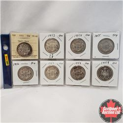 Canada Fifty Cent - Sheet of 8: 1953 Small Date; 1953; 1954; 1955; 1956; 1957; 1958; 1959  (Note: 19