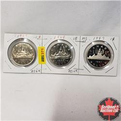 Canada One Dollar - Strip of 3: 1968; 1969; 1987