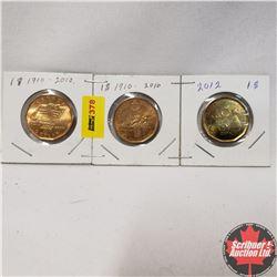 Canada Loonie Dollar - Strip of 3: 1910-2010; 1910-2010; 2012