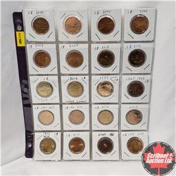Canada Loonie Dollar - Sheet of 20: 2004 (2); 2006 (2); 2008 (2); 2012 (2); 2014; 2016; 1987; 1867-1