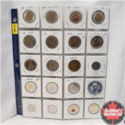 Canada Variety - Sheet of 20: Toonie (2006 (2); 2008; 2011; 1999; 2000; 2012; 2014; 2012; 2015; 2004