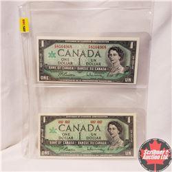 Canada $1 Bills - Sheet of2: 1967 Beattie/Rasminsky FP8164968 ; Beattie/Rasminsky No SN#