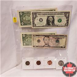 US Variety : One Cent (1943; 1982D; 2004) Twenty Five Cent 2004; $1 Bills (3); $5 Bill