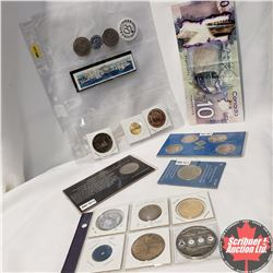 Variety of Tokens/Coinage/Stamp/Novelty:  (Winnipeg Centennial Dollars, Wooden Nickel, Enlarged Copy