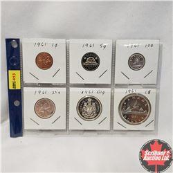 Canada 1961: 1¢; 5¢; 10¢; 25¢; 50¢; $1