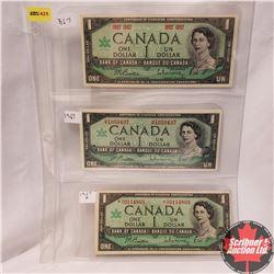 Canada 1967 $1 - Sheet of 3 Varieties Beattie/Rasminsky:  No S/N;  HP1059437;  *NO0114803