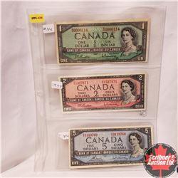 Canada 1954 Bills - Sheet of 3 - Beattie/Rasminsky: $1 Bill WN0000114; $2 Bill ZU1327671; $5 Bill SX