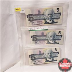Canada 1986 $5 Sequential - Sheet of 3: ANJ2051414/15/16