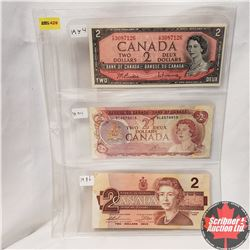 Canada $2 Bills - Sheet of 3 Varieties: 1954 Beattie/Rasminsky YR3087126; 1974 Lawson/Bouey BL657001