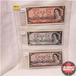 Canada 1954 Bills - Sheet of 3 - $2 Bill KG9482572 Bouey/Rasminsky; $5 Bill VX0131813 Bouey/Rasminsk