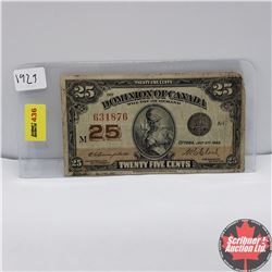 "Dominion of Canada Twenty Five Cent ""Shinplaster"" 1923 S/N#631876"