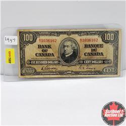 Canada $100 Bill 1937 : Gordon/Towers BJ1036162