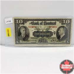Bank of Montreal $10 Bill 1938 S/N#033084