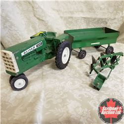 Combo: Oliver 1855 With Wagon and 3 Bottom Plow (Scale: 1/16)